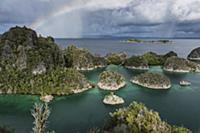 Islands and rainbow, Penemu Island, Raja Ampat Isl
