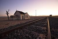Abandoned train station in desert, Namib-Naukluft