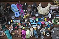 Plastic trash collected on beach, Lesser Sunda Isl