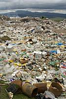 Uncontrolled landfill with large amount of plastic