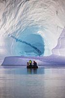 Tourists in zodiac near iceberg, Scoresby Sound, G