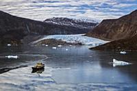 Ship near glacier, Scoresby Sound, Greenland