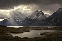 Mountains and lake, Nordenskjold Lake, Paine Massi