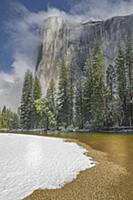 Granite cliff in mist, El Capitan, Yosemite Nation