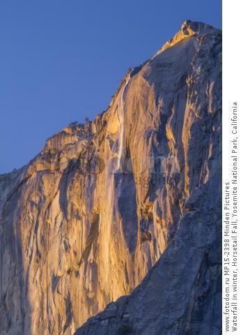 Waterfall in winter, Horsetail Fall, Yosemite National Park, California