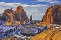 Winding road and sandstone formations, La Sal Moun