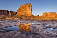 The Organ reflect in pool, Arches National Park, U