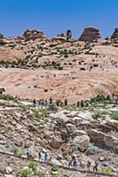 Large number of tourists on overcrowded hiking tra