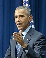 Обама на выступлении в Белом доме