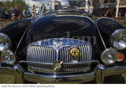 Transport, Cars, Old, Classic car show, Radiator grill of MG showing AA badge.