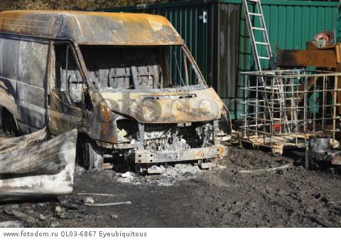 Transport, Road, Cars, Burnt out Ford Transit van in farmyard.