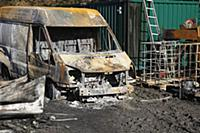 Transport, Road, Cars, Burnt out Ford Transit van