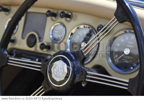 Transport, Cars, Old, Classic car show, detail of classic MG steering wheel.