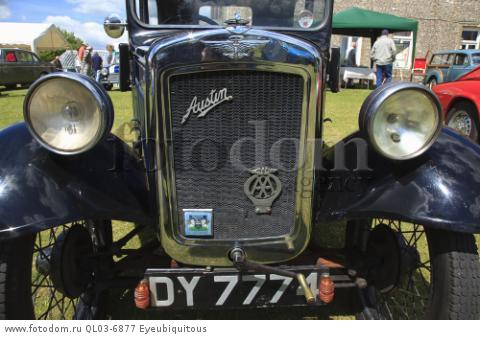 Transport, Cars, Old, Classic car show, Raditor grill of Austin Seven with crank start handle.