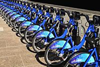 USA, New York, Manhattan, Bikes for rental on the