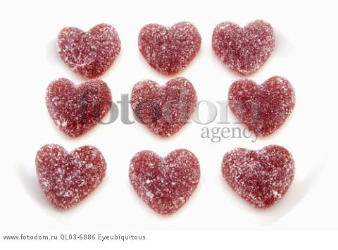 Food, Confections, Candies, Red coloured jelly hearts coated in sugar.