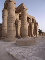 View of the Ramesseum and the Osiride statues, the