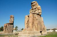 View of the colossi of Memnon. The twin statues de