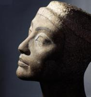 The unfinished head of Queen Nefertiti, wife of Ak