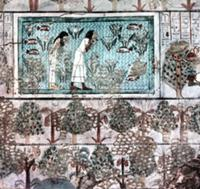 A detail of a tomb wall painting showing a garden
