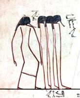 A wall in the tomb of Tuthmosis III painted with a