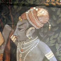 Detail of a palace wall hanging painted with a sce