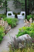 Seating in corner of garden