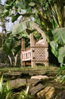 Egyptian wooden bench in garden