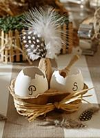 Easter decorations: egg shells and salt and pepper