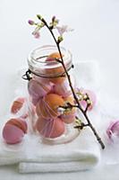 Easter arrangement of dyed eggs & sprig of cherry