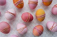 Dyed Easter eggs wrapped with yarn (full picture)