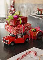 A model car laden with Christmas presents