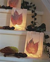 Paper-bag candles lanterns decorated with autumn l