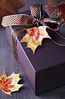 Gift box decorated with ribbon and autumn leaf pen