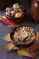 Sugar bowls with coasters made from painted autumn