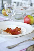 Red autumn leaf on white plate and apples on set t
