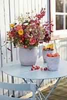 A lavish autumnal bouquet, Chinese lanterns and ch