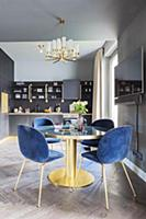 Dining table and blue velvet chairs in grey mid-ce