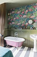 Flamingo-patterned wallpaper and wainscoting in ba