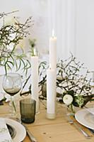 Table set for wedding with spring flowers, dry twi