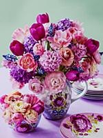 Bouquet of pink spring flowers with tulips, hyacin