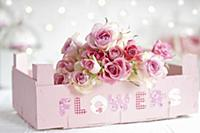 Bouquet of roses in fruit crate painted pastel pin