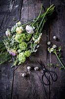 Tying an Easter bouquet of viburnum, freesias and