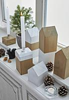 Simple house-shaped ornaments and wooden candle ho