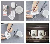 Instructions for making mugs painted with fir tree