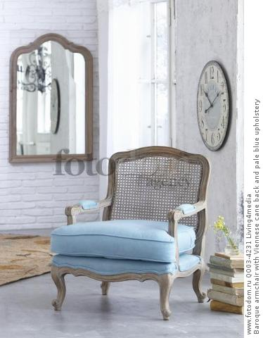 Baroque armchair with Viennese cane back and pale blue upholstery