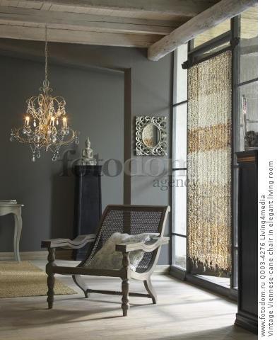 Vintage Viennese-cane chair in elegant living room