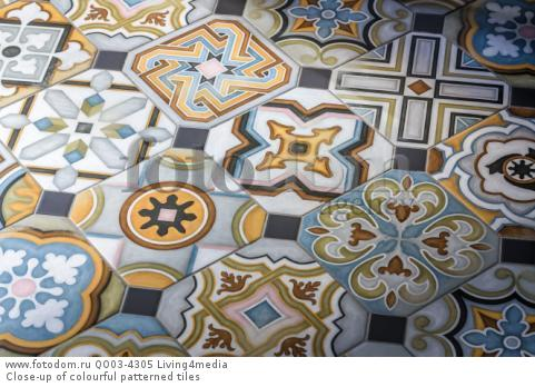 Close-up of colourful patterned tiles