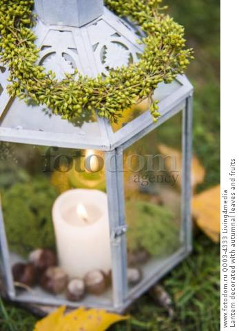 Lantern decorated with autumnal leaves and fruits