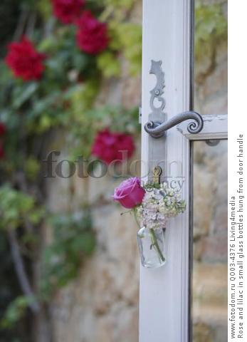 Rose and lilac in small glass bottles hung from door handle